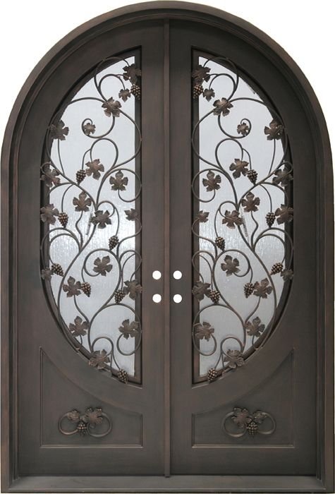 Bellavita Double Arched Door Overall Size 76x112 Door Size 72 X 108 2x8 Jamb Dual Pane Rainstorm Glass 05 Aged Bro Double Arches Arched Doors Entry Doors