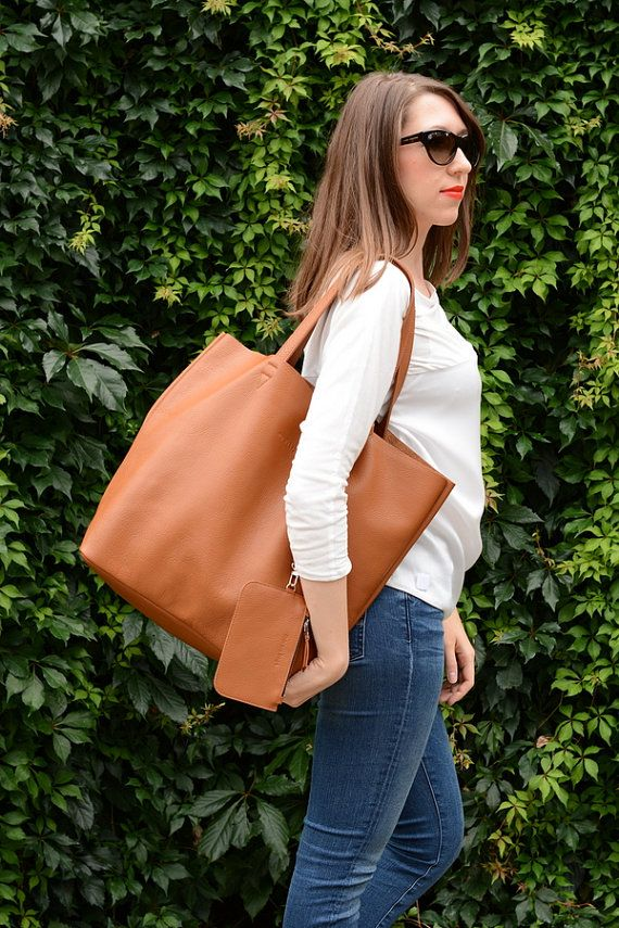 Cognac Leather Tote, Oversized Tote Bag, Leather Shopping Bag ...