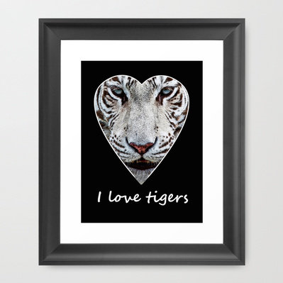 #Society6                 #love                     #LOVE #TIGERS #Framed #Print #catspaws              I LOVE TIGERS Framed Art Print by catspaws                                    http://www.seapai.com/product.aspx?PID=1432319
