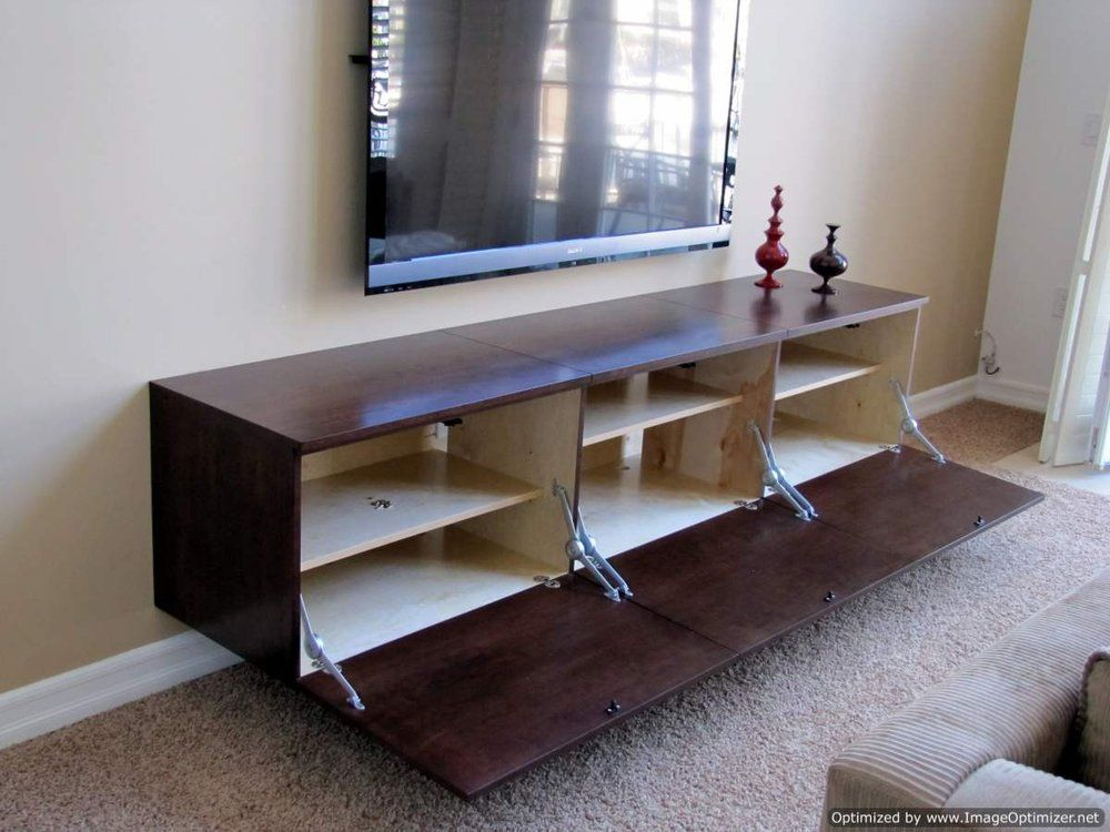 Custom Floating Contemporary TV Cabinet Built For A Huntington Beach  Resident, In Orange County CA