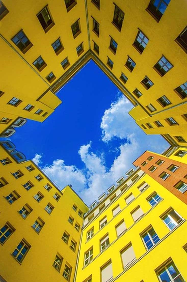 The Photo Shows Balance Between Two Opposing Colors Photographer Uses Leading Lines Color And Rule Of Thirds Berlin Blue Aesthetic