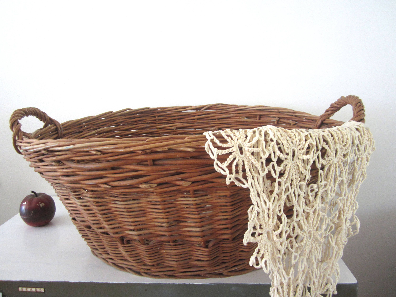Sale Large Wicker Basket Handled Oval Woven Rattan Storage Wicker