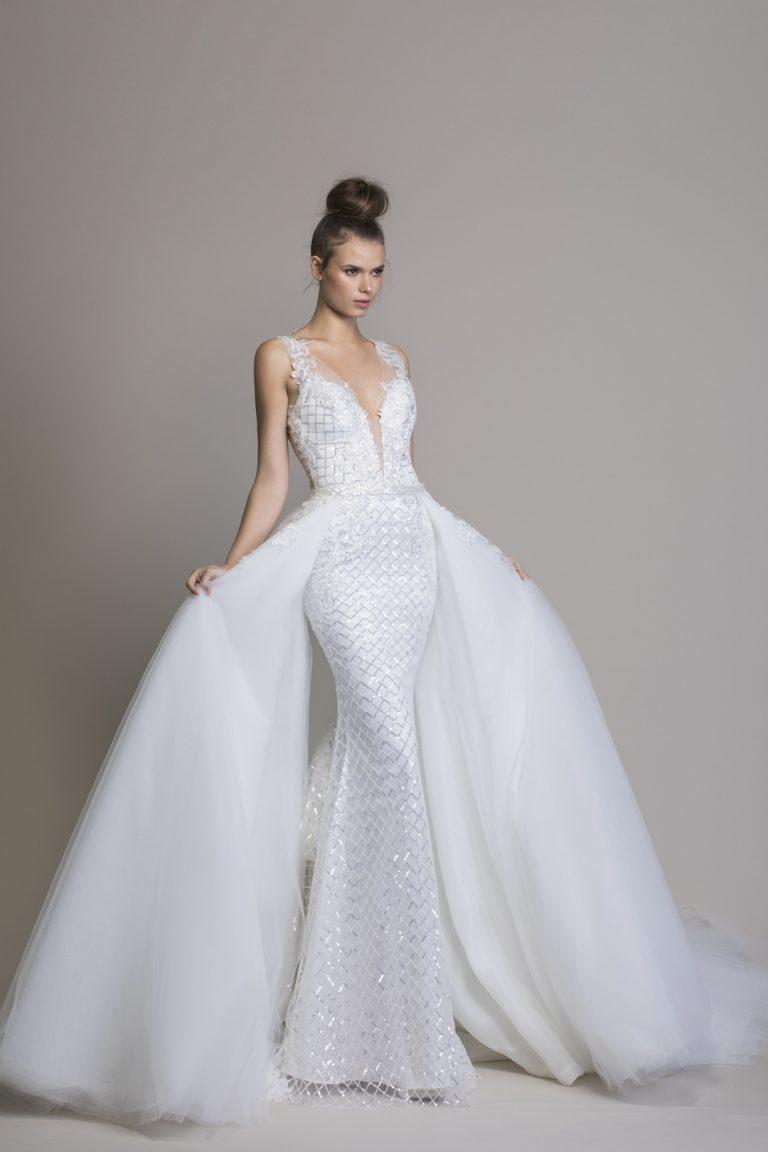 Detachable Overskirt With Lace Applique Kleinfeld Bridal