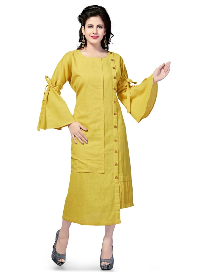 Yellow Colour Bell Sleeves With Self-Tie Knot Women\'S Kurti ...