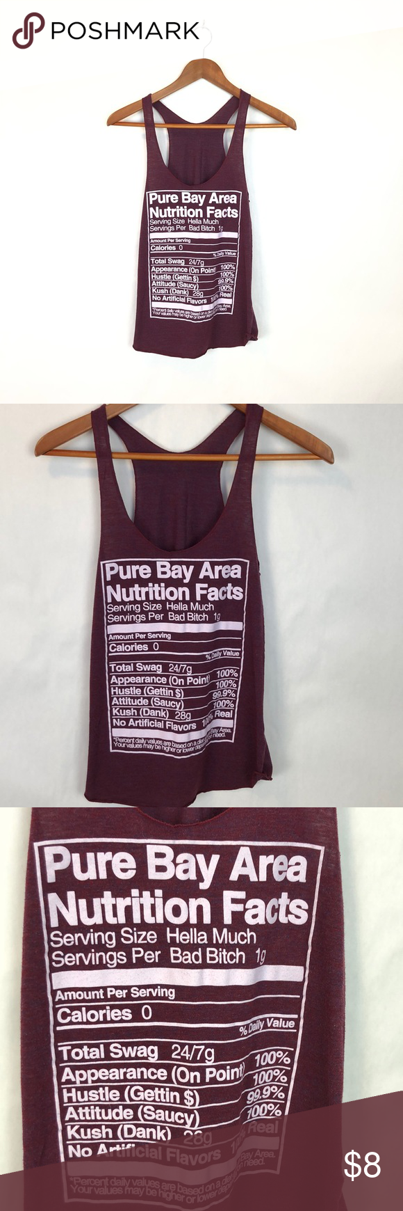 Pure Bay Area Facts Tank Top Size Small American Apparel Tank Tank Tops Pure Products