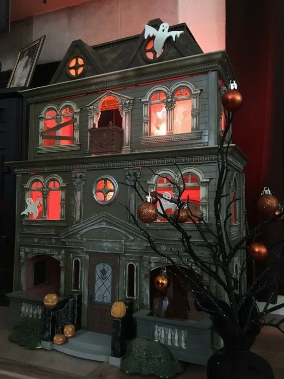 Various Halloween Makeovers Of Fisher Price Doll House Halloween Diorama Haunted Dolls Dollhouse Halloween