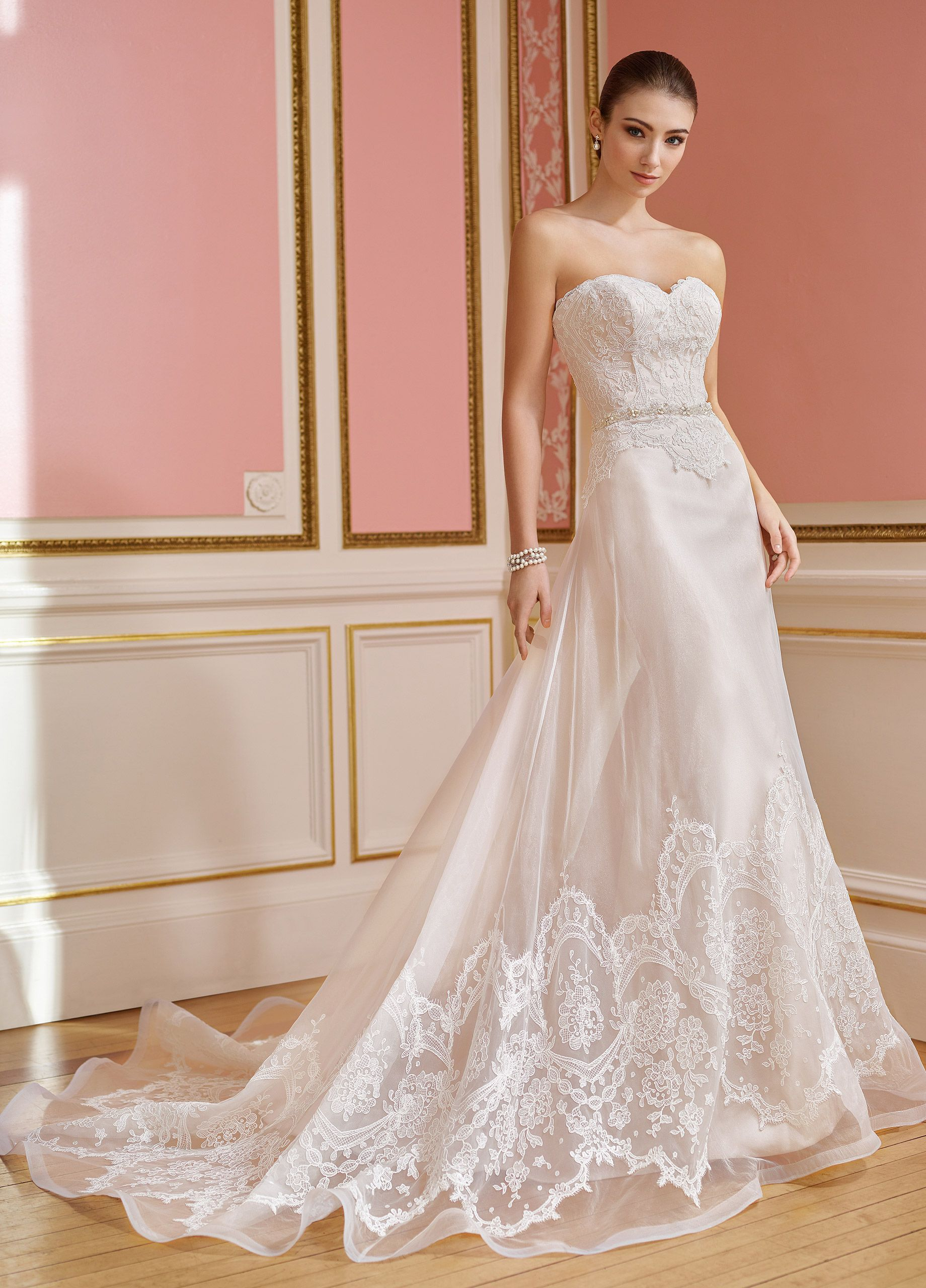 Lace sweetheart wedding dress  Strapless Organza and Lace Wedding Dress  Hallie  Strapless