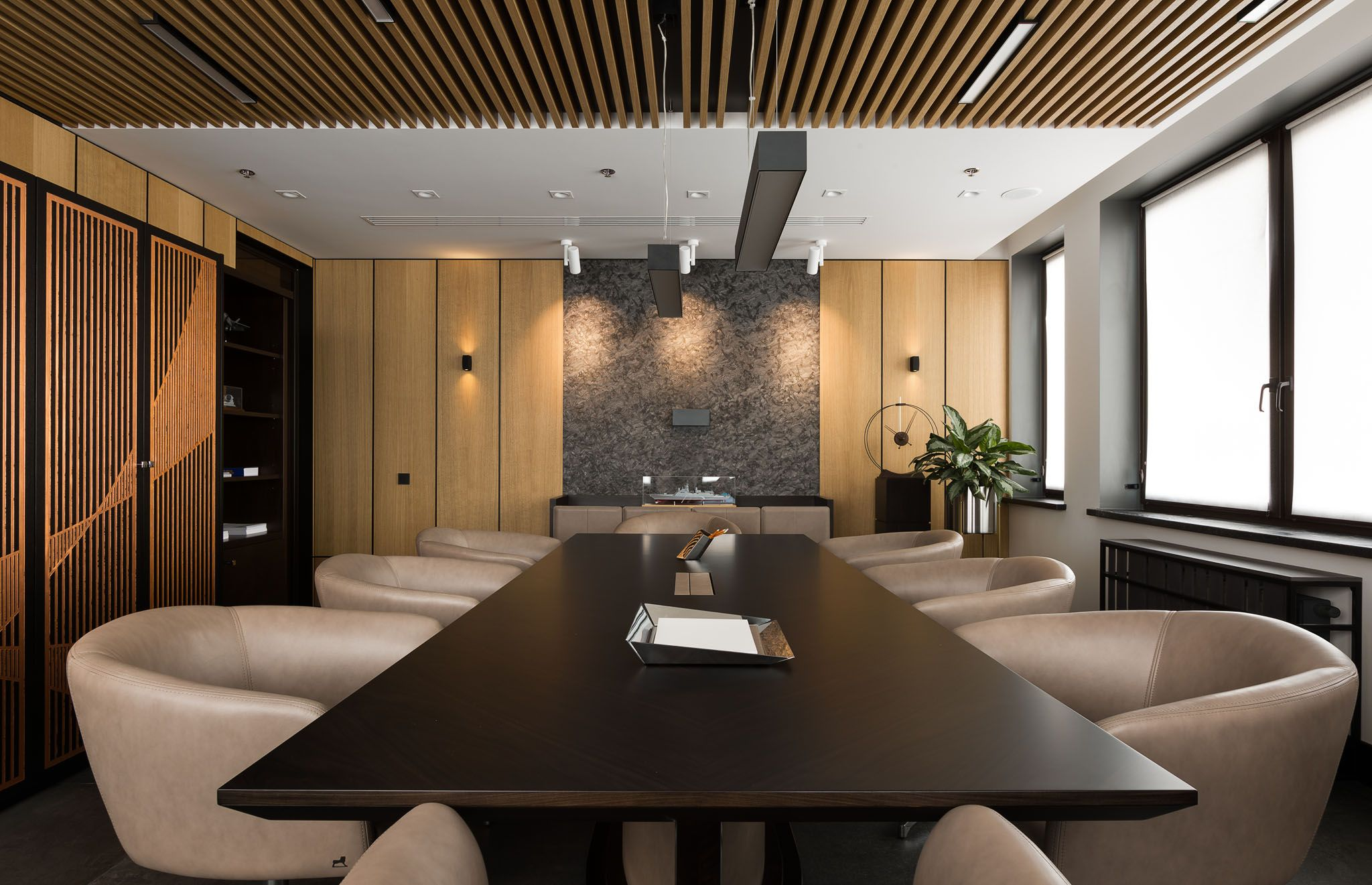 Office modern meeting room in coffee colours interior for Office design victoria