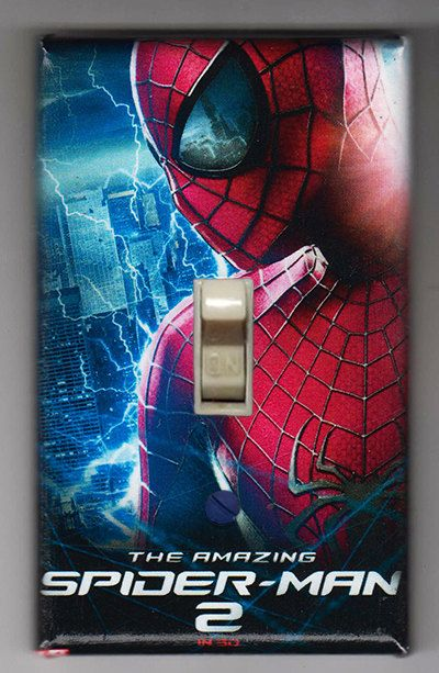 Amazing Spider Man 2 Light Switch Cover Plate - Spiderman Marvel Comics FREE SHIPPING by SuperheroWallArt on Etsy