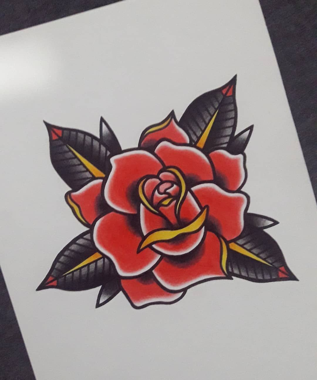 Rose Old School Old School Rose Traditional Rose Tattoos Old School Tattoo Designs
