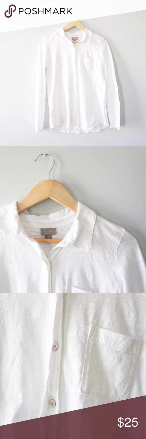 J.Jill Shell Button Buttondown J.Jill shell buttondown size small. Cotton, white. Lightweight and great for spring! In excellent condition with no stains rips or tears. J. Jill Tops Button Down Shirts