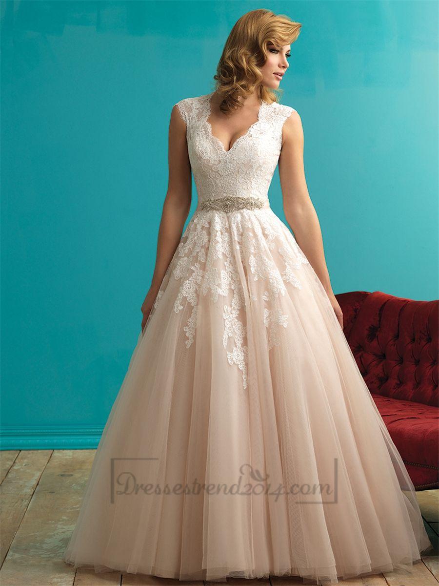 Cap sleeves plunging v neckline aline lace wedding dress