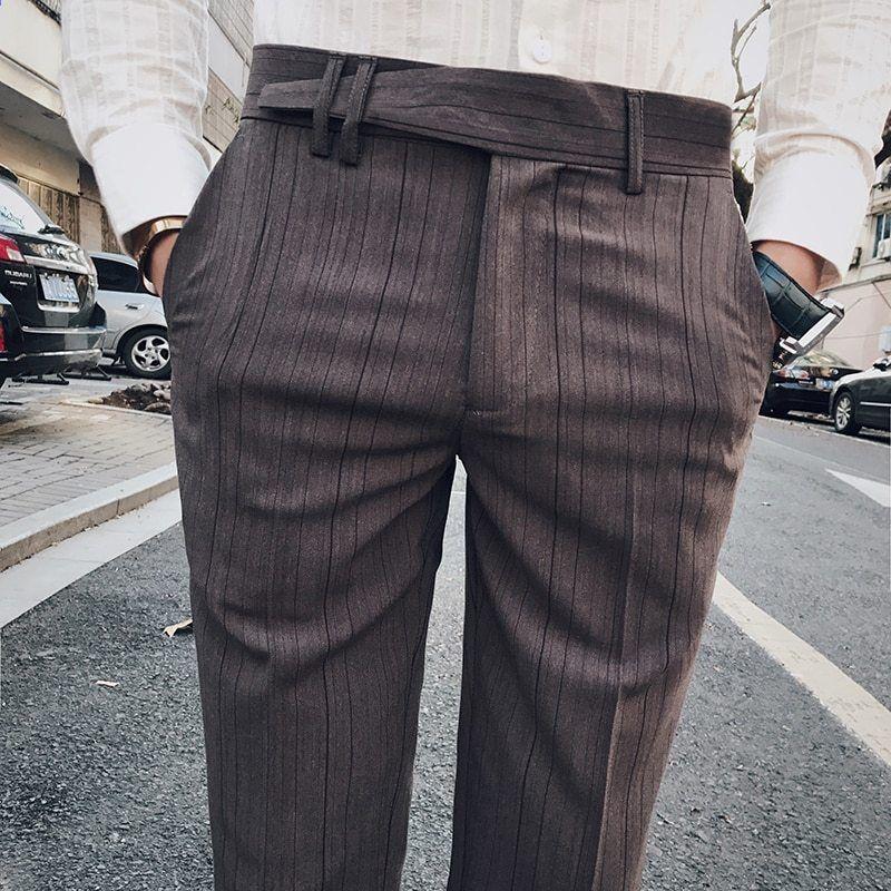 2018 Kevät Uudet Miesten Casual Slim Bound Jalat Ankle Length Housut Tide  Solid Colour Stripe Länsi-tyylinen Suit Housut Mies 28-34 d28550466e