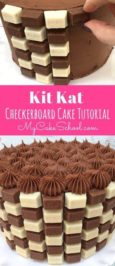 Kit Kat Checkerboard Cake Tutorial Recipe Checkerboard cake
