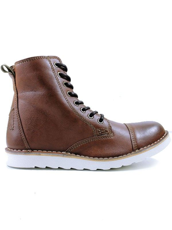the sale of shoes best prices best choice Vegan mens white sole boots in chestnut brown by Wills ...