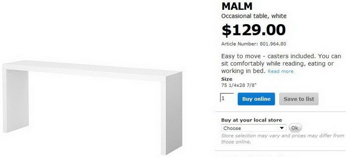 Build A Copy Cat Ikea MALM Occasional Table For Just $35 The Table On  Castor Wheels