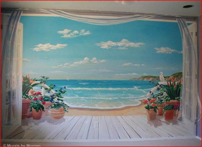 Ocean mural i need this on my wall beaches pinterest for Beach mural painting