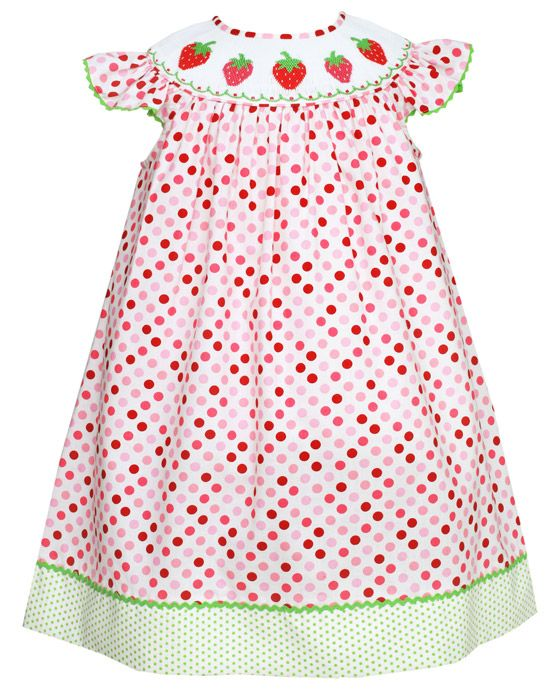 Claire & Charlie Toddler Girls Pink Polka Dots Smocked Strawberries Dress