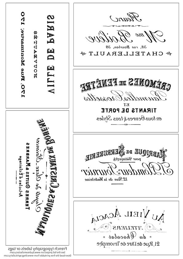 Printable French Typography Labels and Project Graphics French