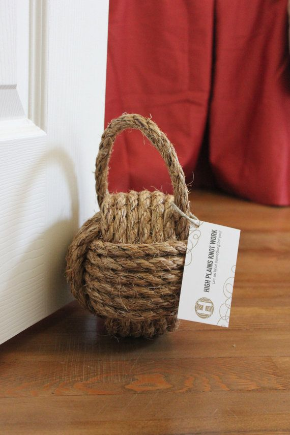 Nautical rope door stop with handle large by highplainsknotwork