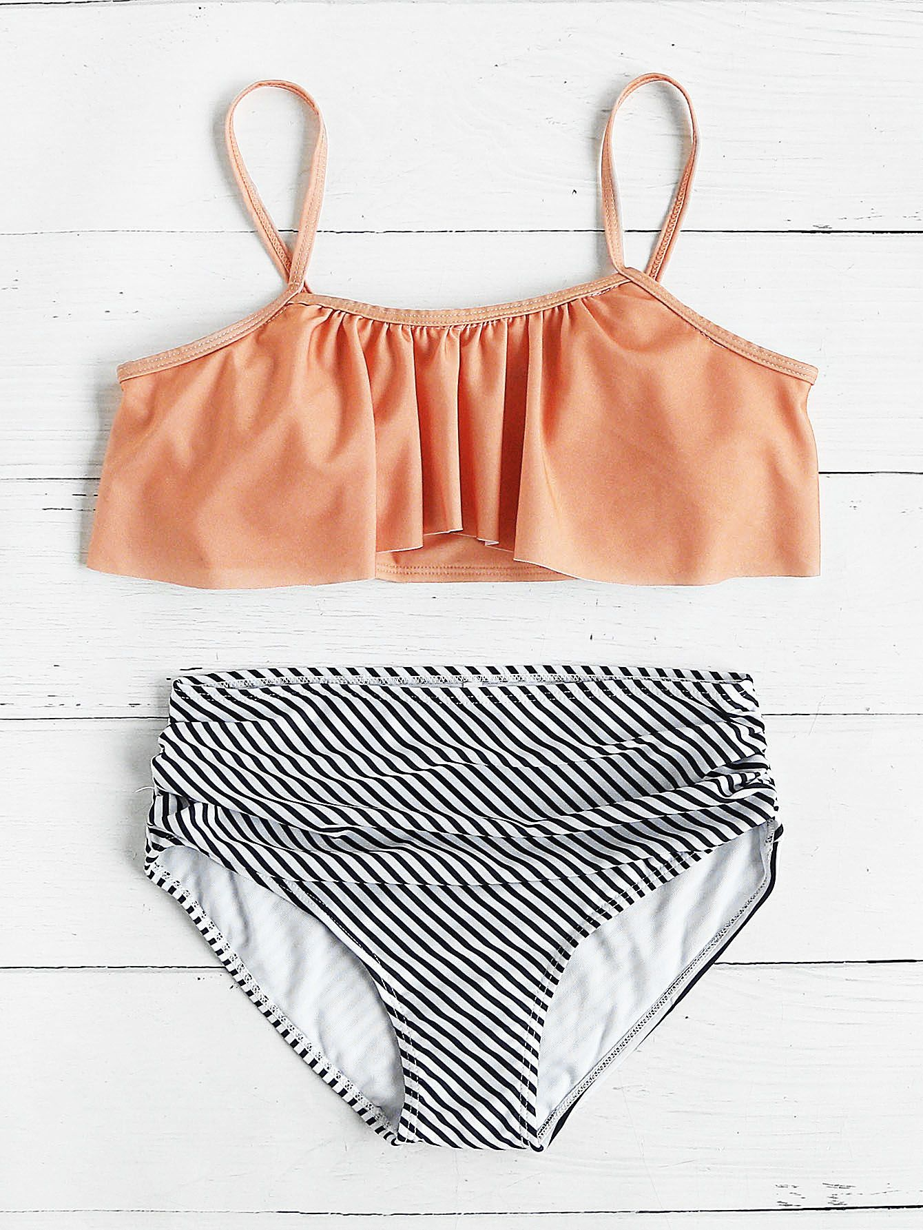 d57b7289c8 Shop Striped Print Mix & Match Flounce Bikini Set online. SheIn offers  Striped Print Mix & Match Flounce Bikini Set & more to fit your fashionable  needs.