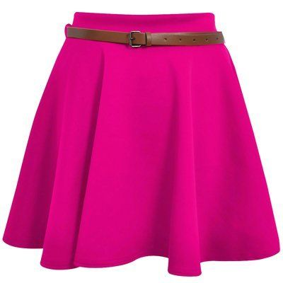 Ladies Girls Skirts Women/'s Belted Flared Plain Mini Skater Skirt Sizes UK 8-14