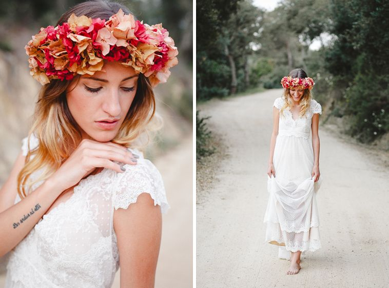 wedding dress immacle boho   vestido de novia vintage   flower crown ...