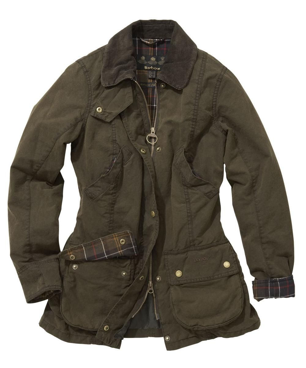 Womens Barbour Vintage Beadnell Waxed Jacket Olive