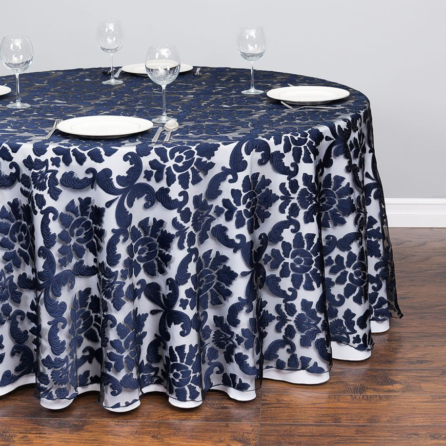 118 In Round Baroque Sheer Tablecloth Stone Blue Table Cloth