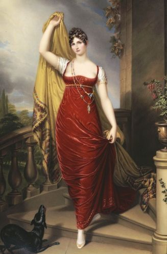 1813 Hon. Mrs Thomas Hope full face in a red velvet dress by Henry Bone (location unknown to gogm)