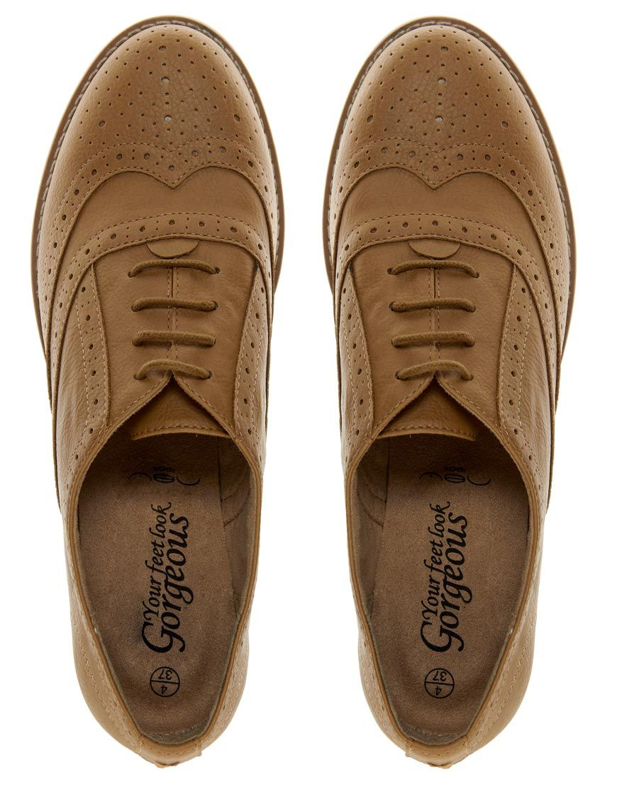 :New Look Koffee 2 Camel Flat Shoes #oxford