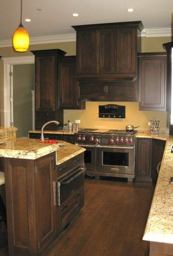 Yellow Granite Yellow Kitchen Walls Dark Wood Cabinets Yellow Kitchen
