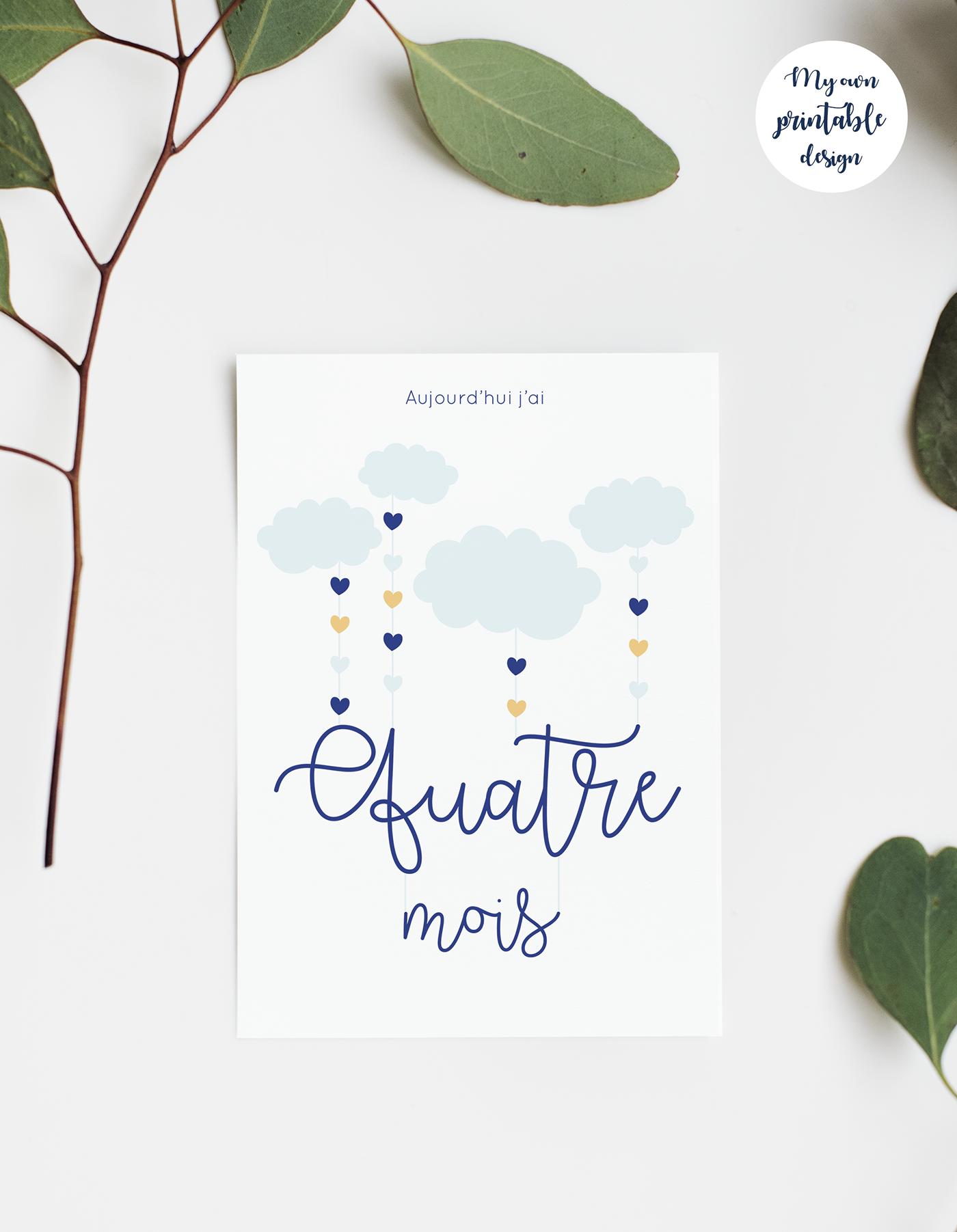 Cartes étapes bébé nuage et coeur bleu à imprimer