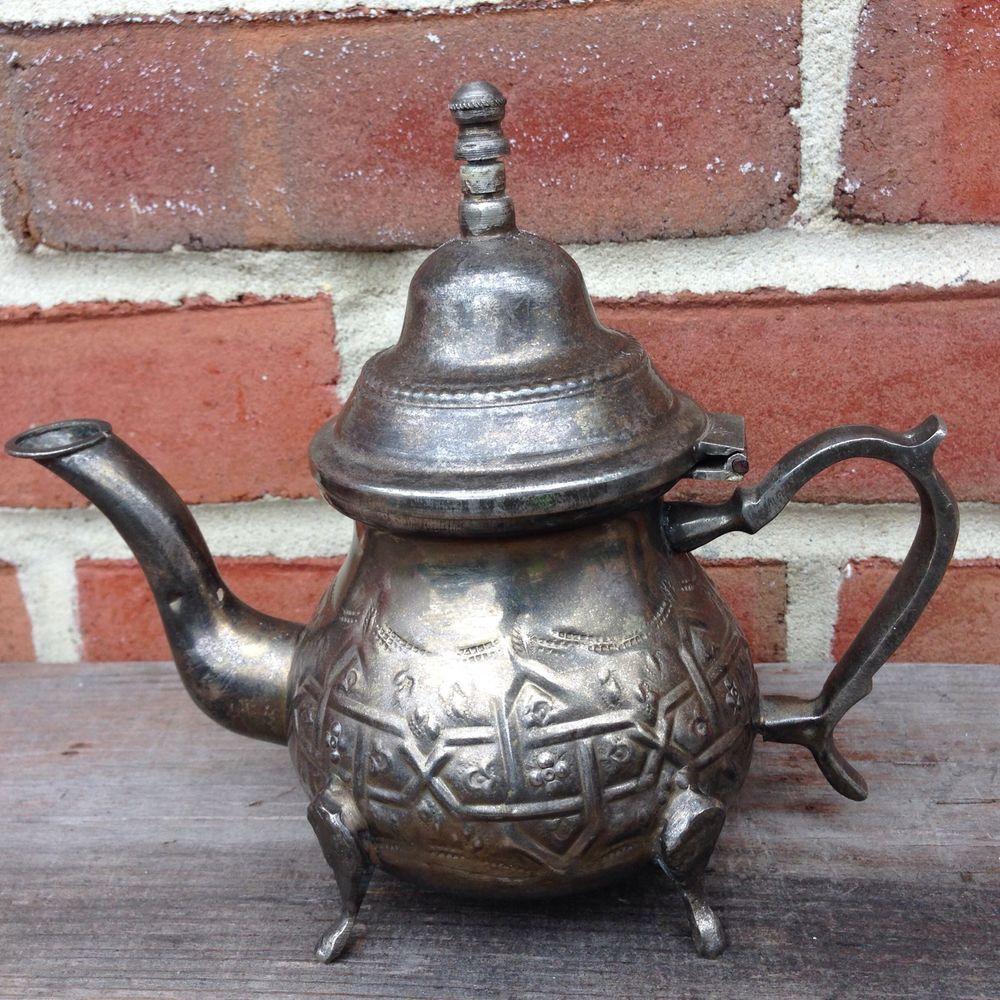 Authentic vintage moroccan teapot tea kettle pot small