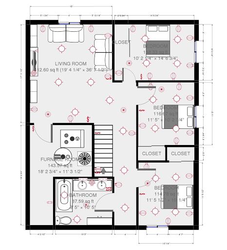 Basement Floor Plan 1200 Sq. Ft.
