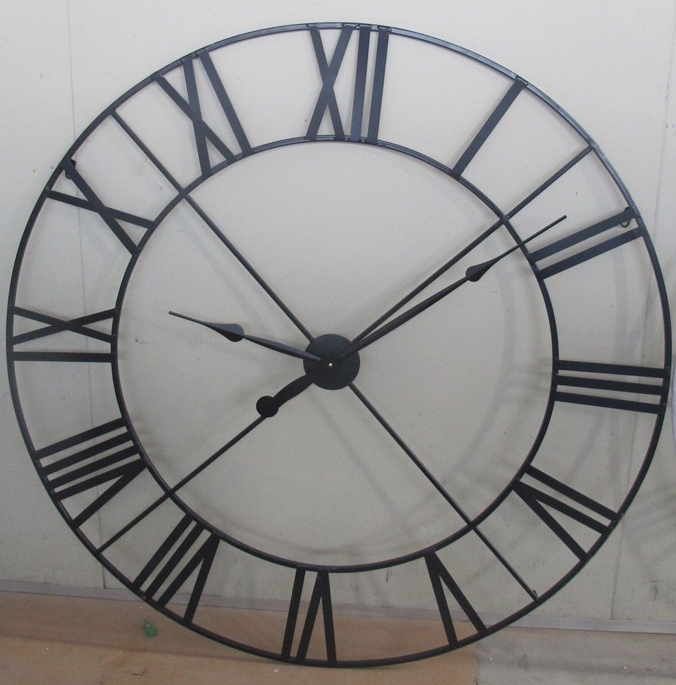 Extra large 110cm black metal wall clock life man Oversized metal wall clocks