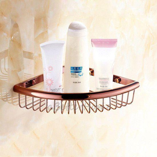 Rose Gold Bathroom Corner Shower Basket Wall Shelves Caddy Storage Rack Holder Baskets On Wall Corner Shower Shower Basket