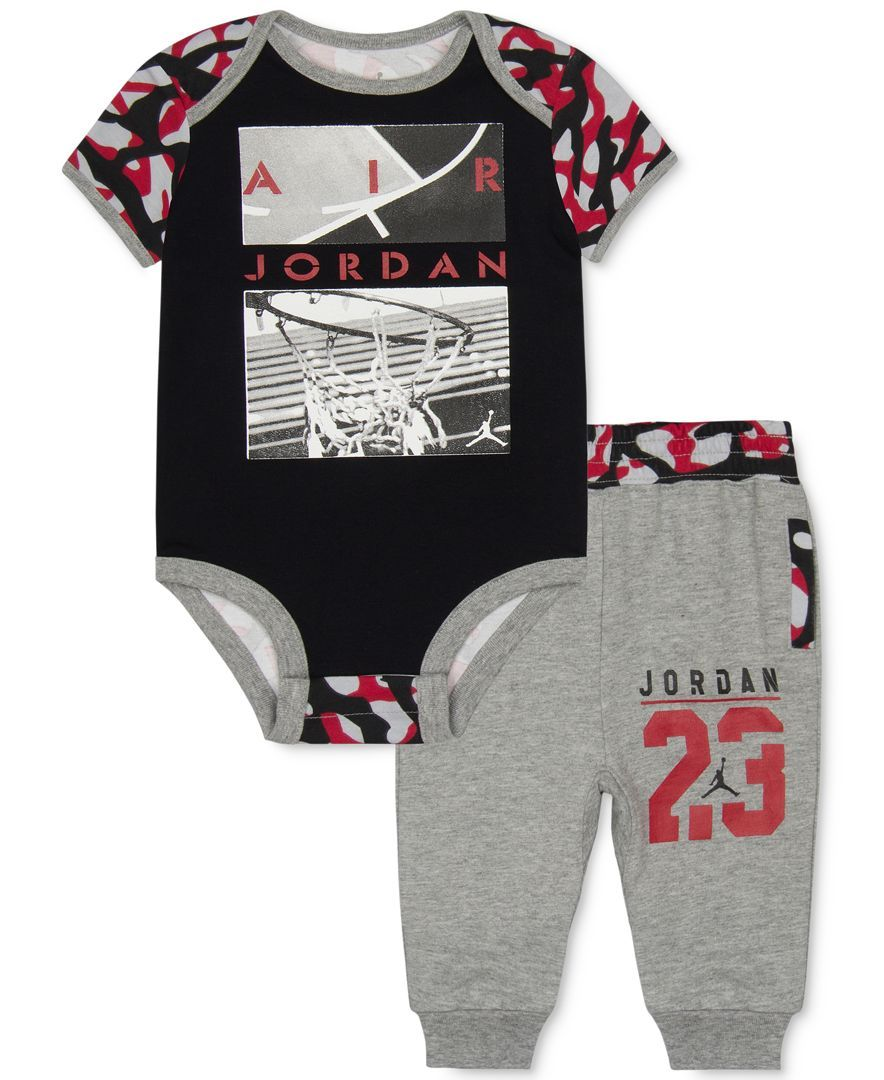 Jordan Baby Boys 2 Piece Camo Accent Bodysuit Amp Pants Set