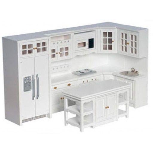 Aztec Miniatures 1 Inch Scale Dollhouse Miniature Kitchen Furniture Kitchen Set 8 Pcs Whi Dollhouse Miniatures Kitchen Dollhouse Kitchen Modern Kitchen Set