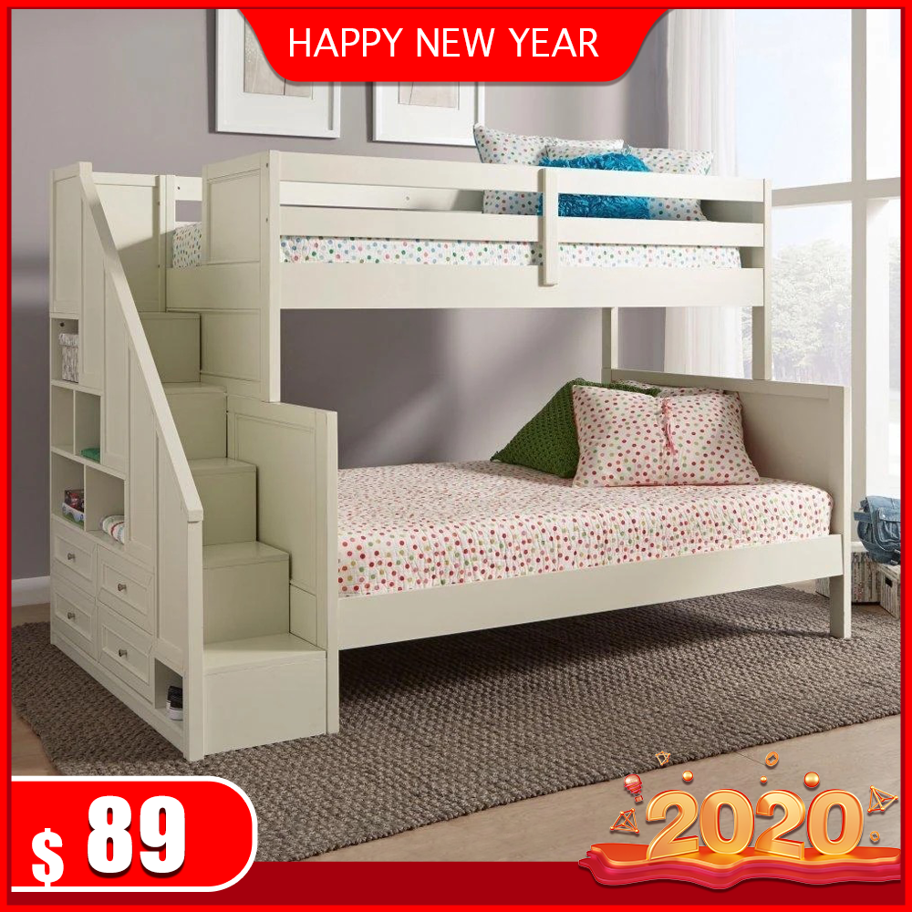 Solid Wood Bunk Bed In 2020 Wooden Bed With Storage Bunk Beds