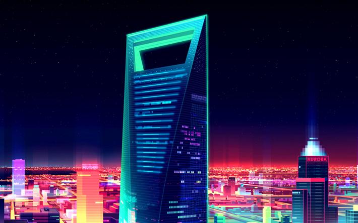 Download wallpapers Shanghai World Financial Center, 4k