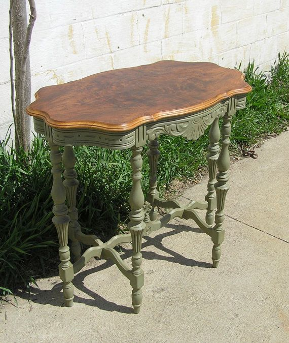 French Country Six Legged Occasional Table -Top was finished in its natural beauty - only polyurethaned, The apron and six legs have exceptional details and are finished with Annie Sloan Chalk Paint in Chateau Grey, with clear & dark wax to bring out the beauty of the details.
