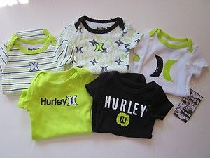 434769cd30e4 New Hurley Infant baby boys green   black 5 piece Bodysuit onesies 0 ...