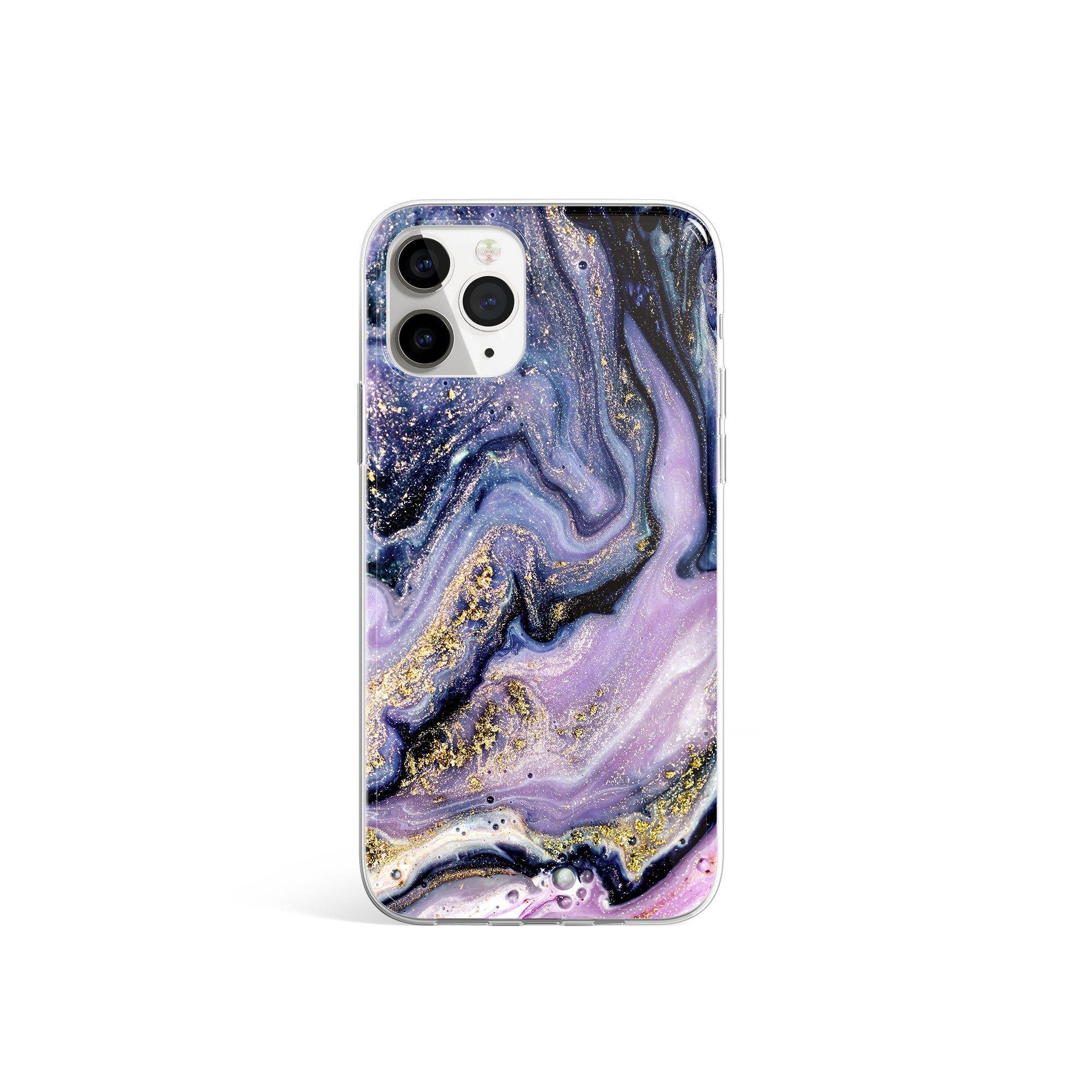 Silicone Case Purple Rain Marble Print iPhone Case