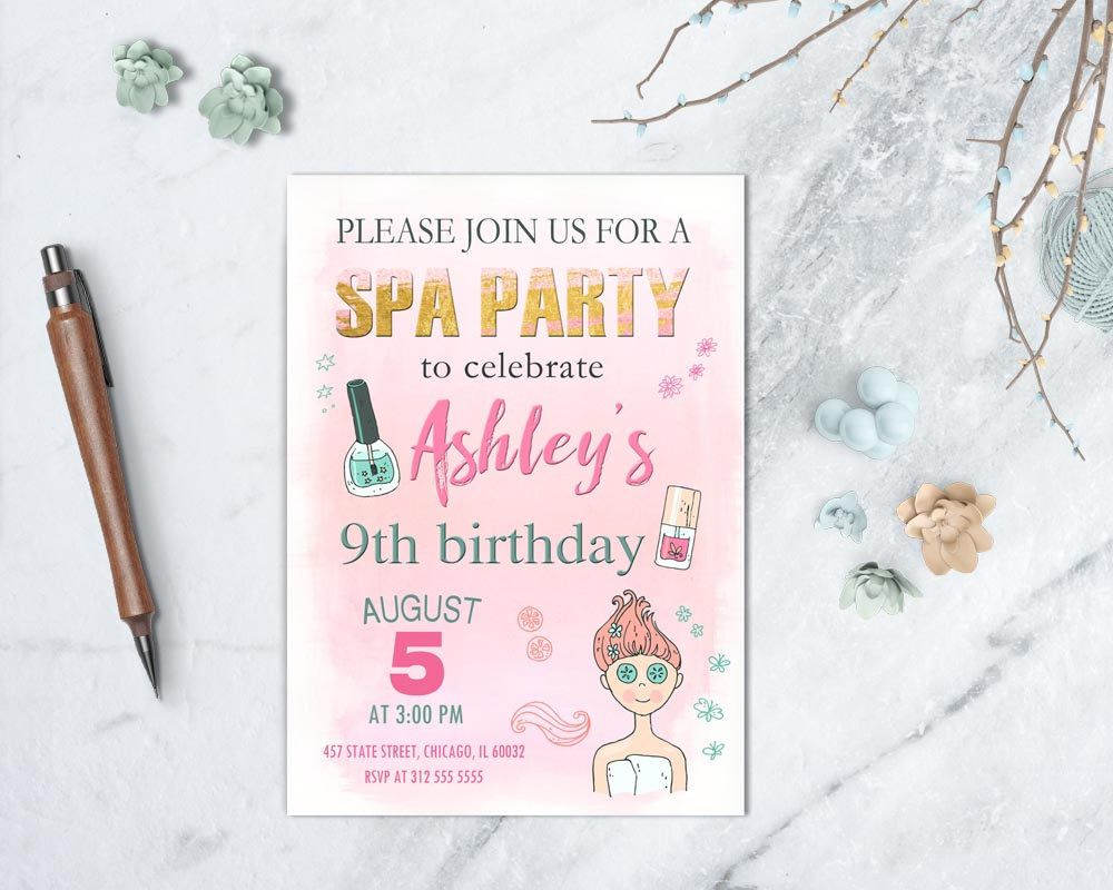 Spa Birthday Invitation, Makeup Invitation, Manicure Party, Glamour ...