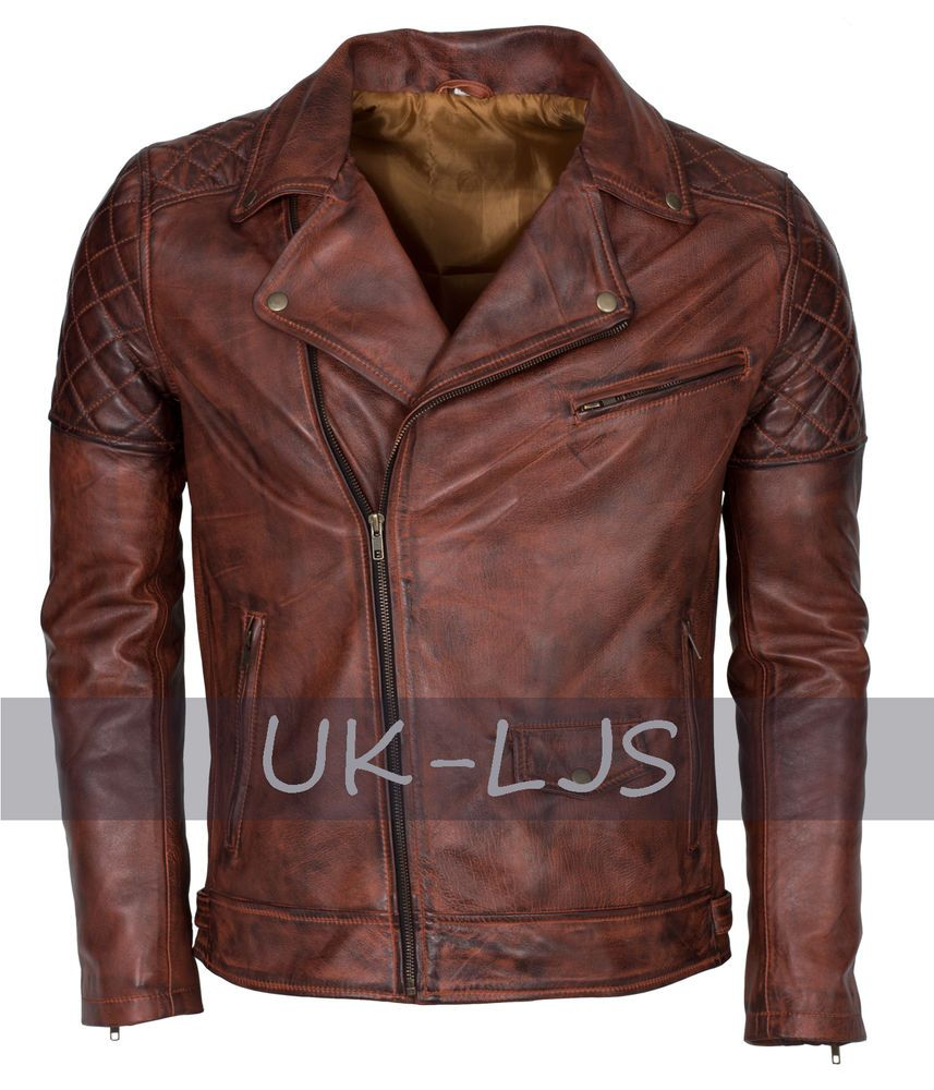 bef63c64da48f9 Brando Vintage By LJS - Dark Brown Italian Brando Style Biker Leather Jacket
