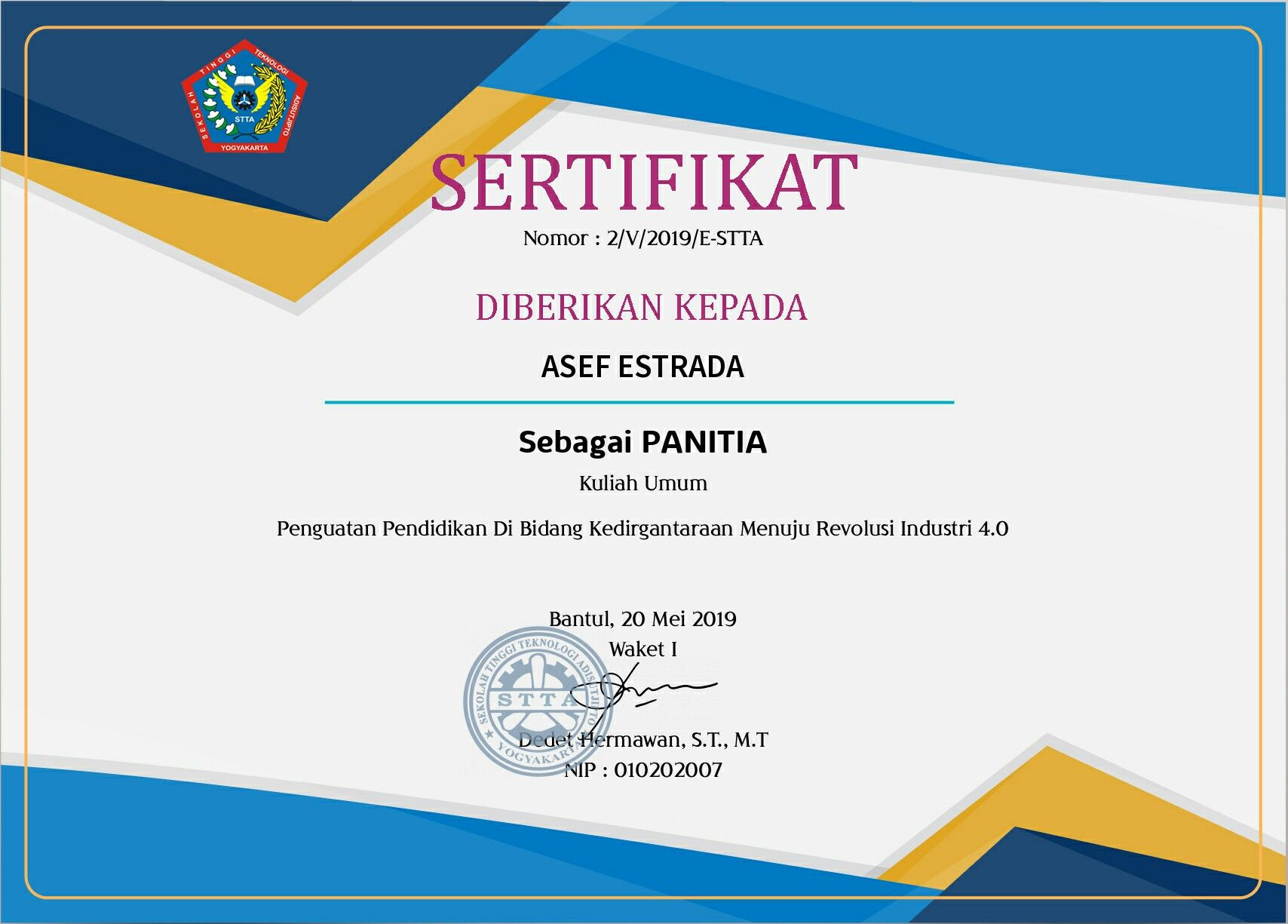 Ini adalah contoh sertifikat seminar ataupun kuliah umum