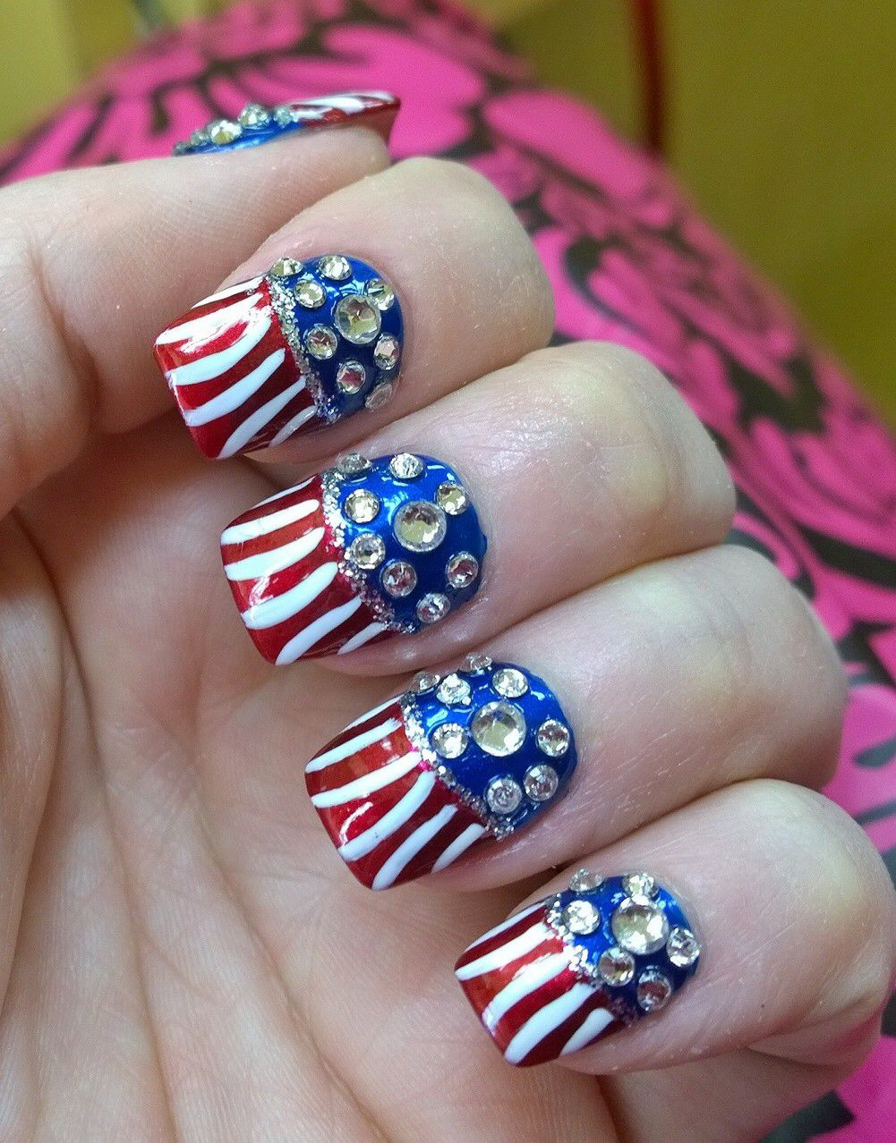 Nail Bless America! My patriotic tribute to 4th of July!