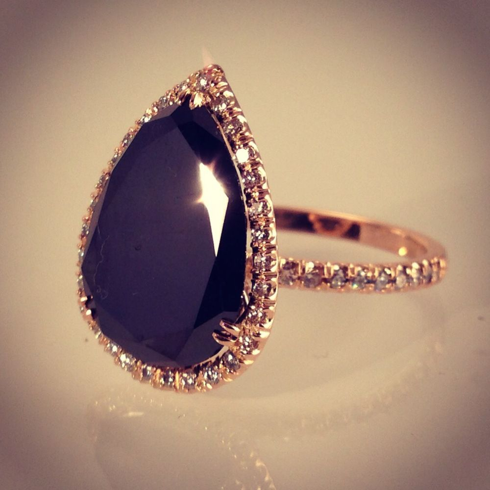 Bespoke Pear Shaped Black Diamond With White Diamonds In Rose Gold Black Diamond Ring Engagement Jewelry Gothic Engagement Ring