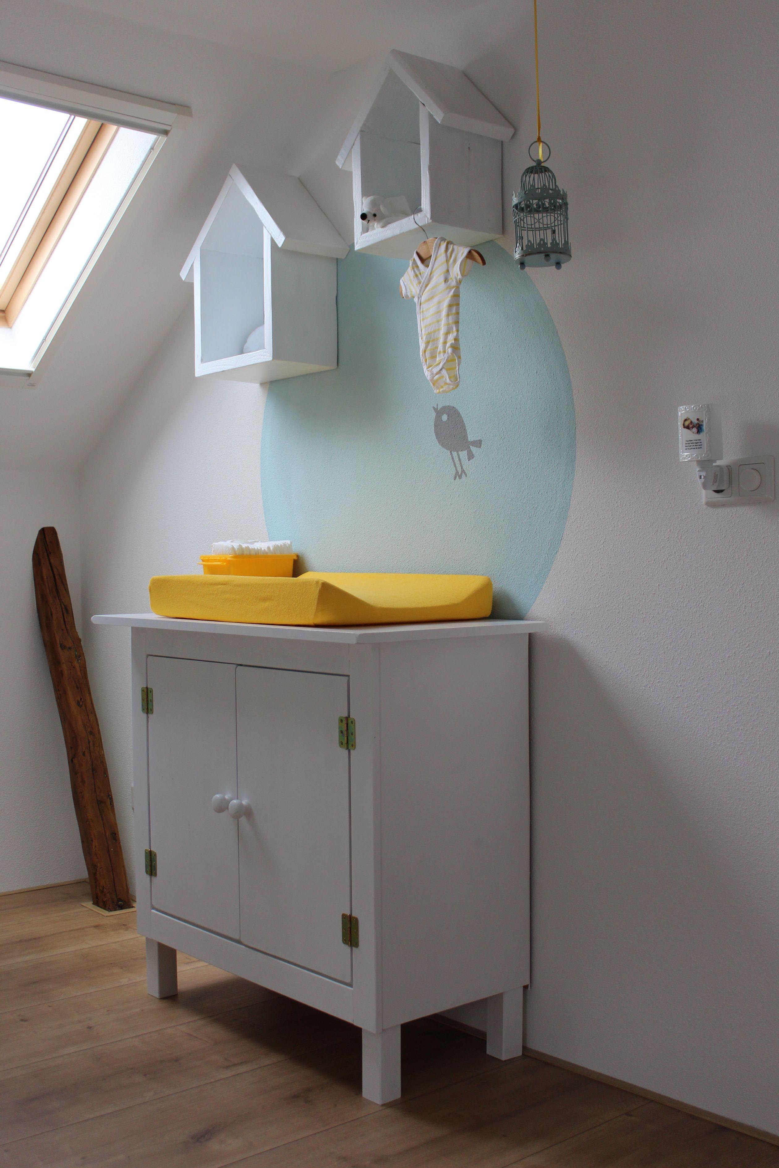 baby slaapkamer geel met babyblauw voor als je geen idee hebt of je een jongetje of een meisje in je buik hebt